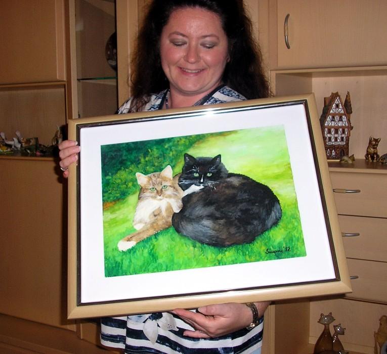 Aquarellbild Tierportrait Tiermalerei Katze Maine Coon Finja und Kiera ein Geschenk für Margit