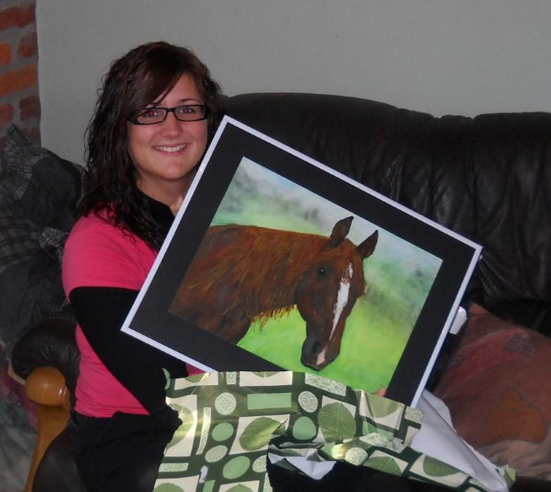 Aquarellbild Tierportrait Tiermalerei_Pferd Warmblutpferd_Julius ein Geschenk fuer Melanie